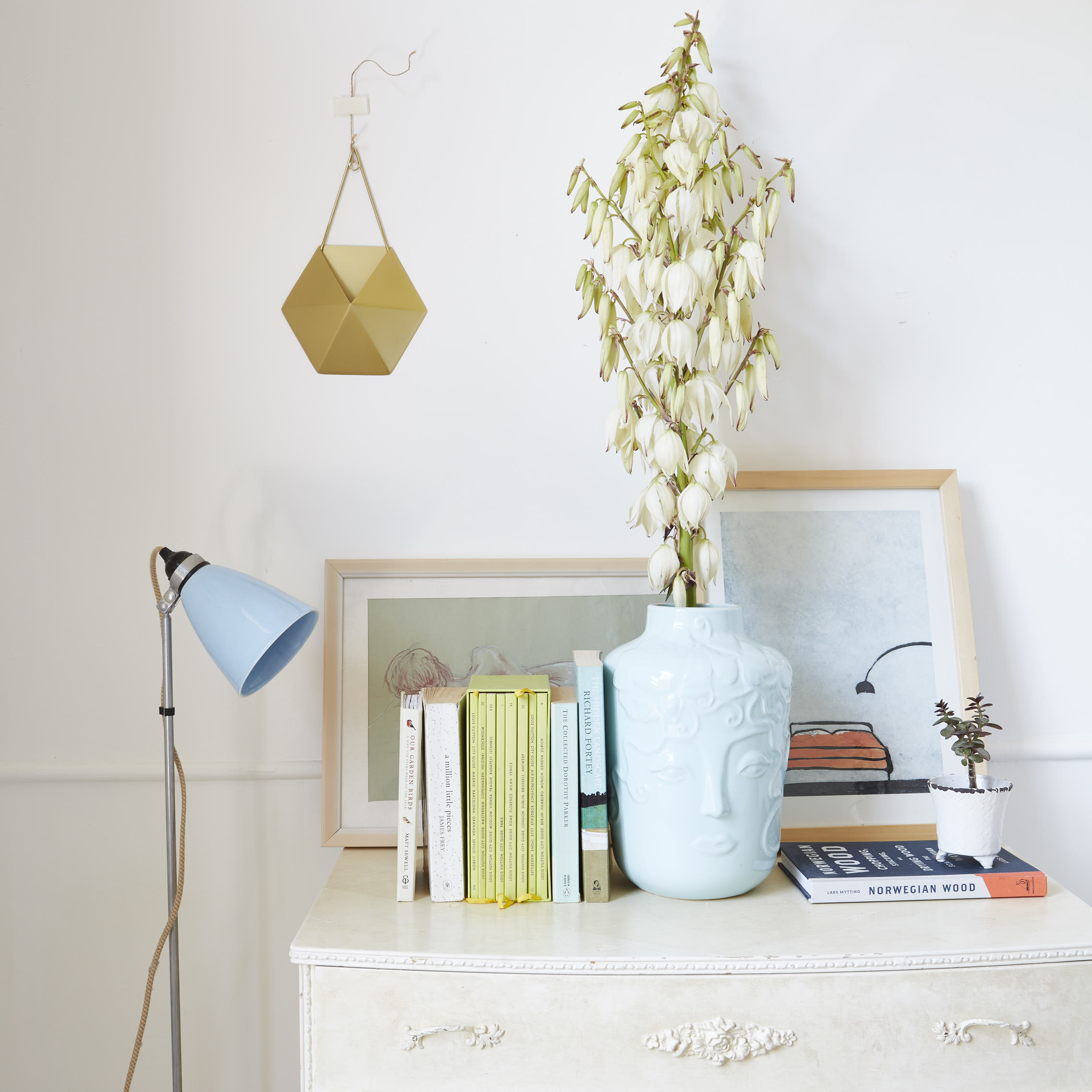 Hector floor light, BTC Originals, Vase,  Marks and Spencer  and planter (hanging on the wall).  Anthropologie