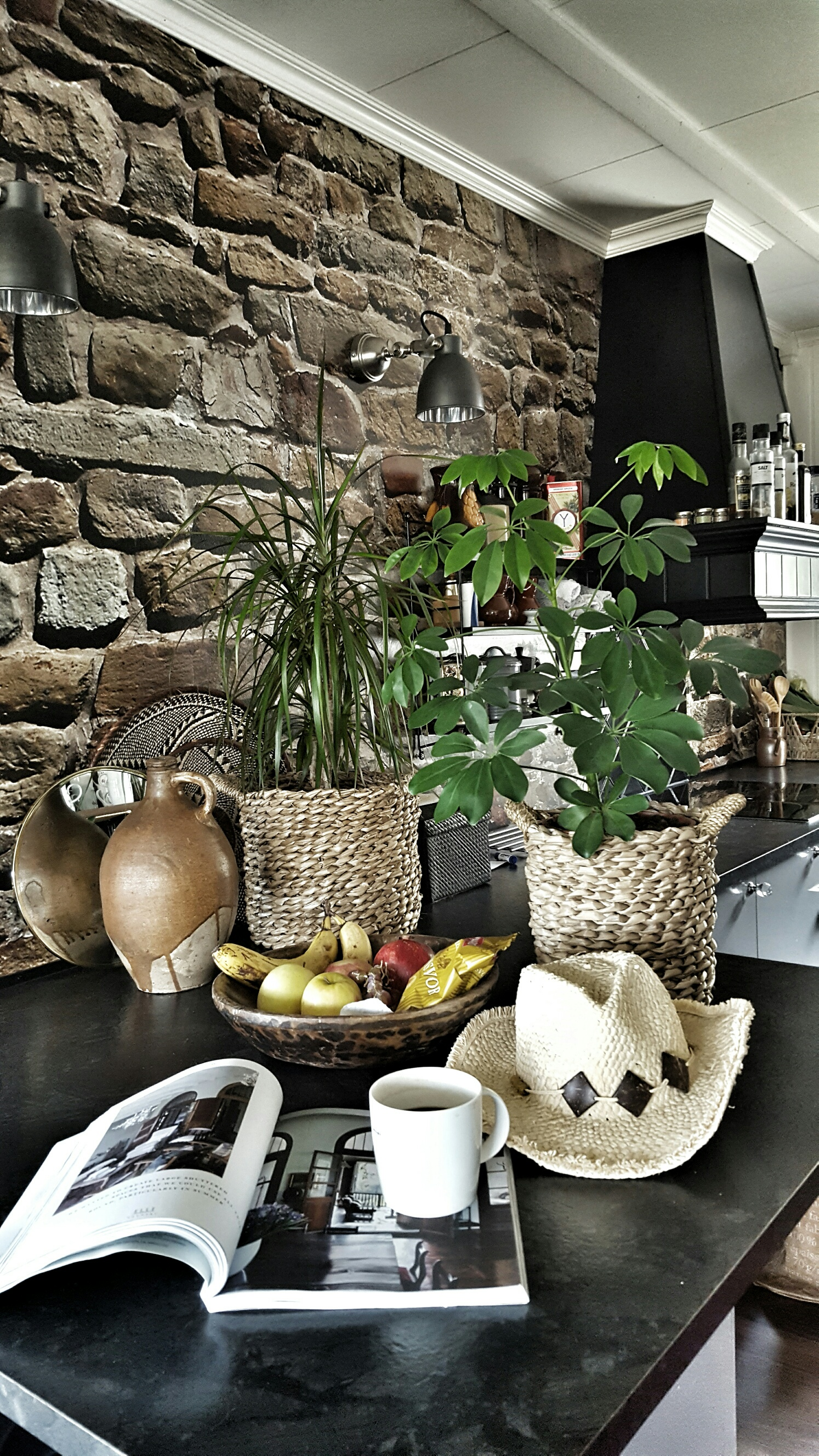 The Brick wall brings a wonderful texture to the kitchen