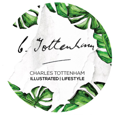 Charles Tottenham : Co founders and designers Paul Charles and Joseph Stefanko have taken inspiration from the expeditions of the celebrated Entomologist and adventurer Charles Tottenham (1895-1977) to create an illustrated lifestyle range of prints, greetings cards, printed silks and gift items. The pair has unprecedented access to the collection, including original sketches and samples, due to Paul being the Grandson of Charles Tottenham, making this brand all the more exciting and steeped in provenance.