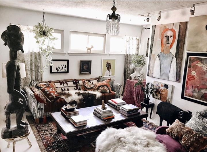 Judy likes to change her living room around, sometimes twice a year, showcasing different art that she is an avid collector of.