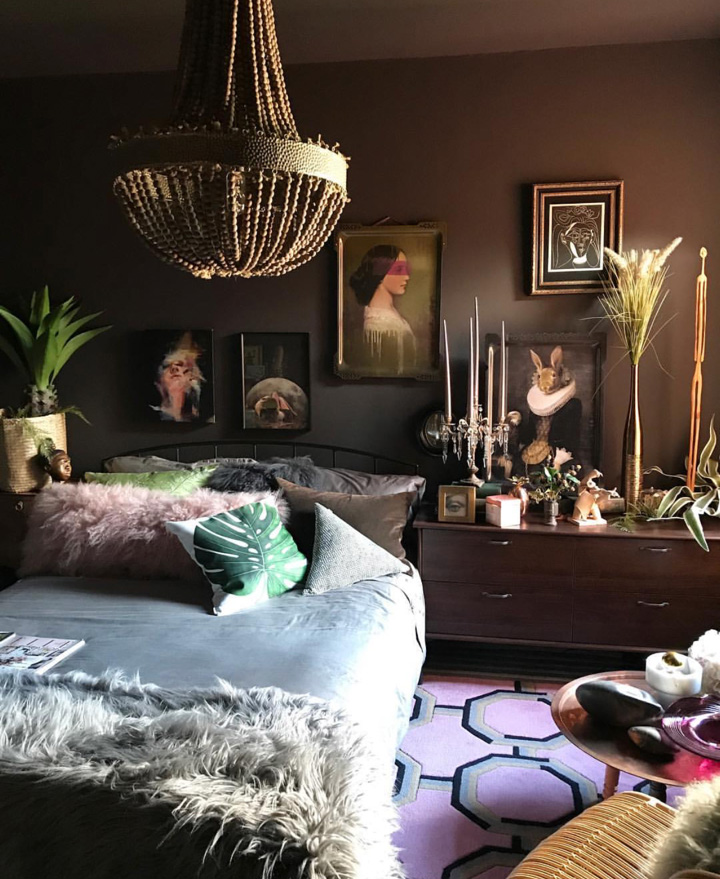 This chocolate brown bedroom belongs to Jaz  @jazzierere . Full House Tour coming  here