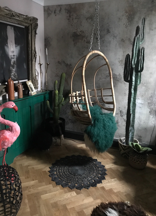 The wallpaper in this shot is from rebel walls and can be sourced from @hilaryandflo, as can the hanging chair, plants and sheepskin. The parquet floor was laid by Shelley's husband. The main picture in this room is by @patirobins