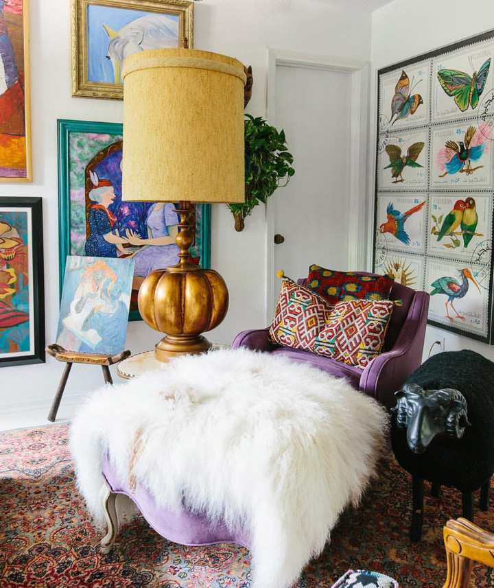 One of Judy's favourite shots. Almost everything in here came from a thrift store. The chaise was recovered in lavender velvet. Photo @carlaypage