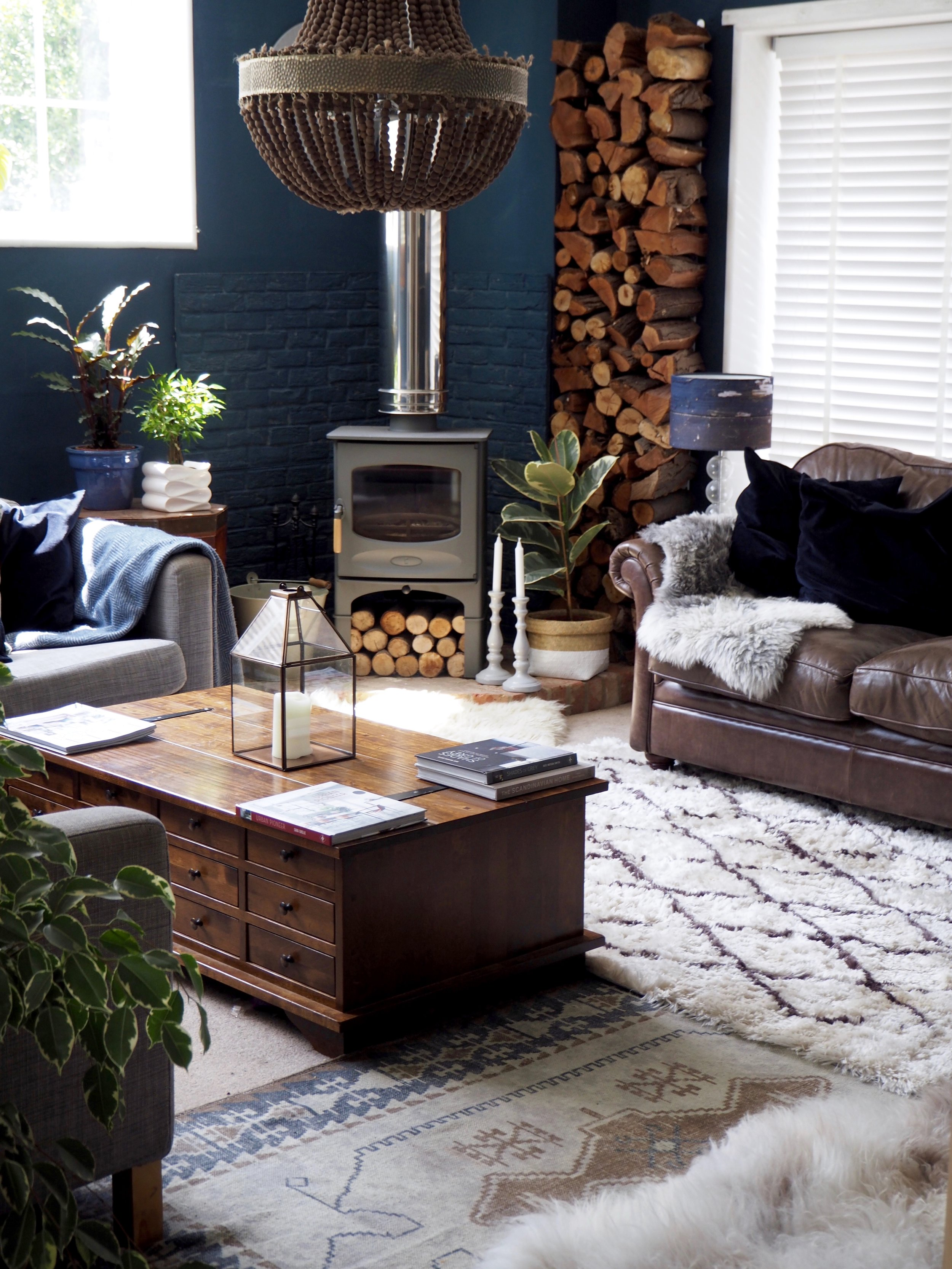 Sitting room  - walls Farrow & Ball Hague Blue …… woodburner Charnwood stoves …… ceiling light Abigail Ahern…… butterfly print Donna Kelly @kelldon …..paterned rug French Connection …...blue velvet cushions Ikea