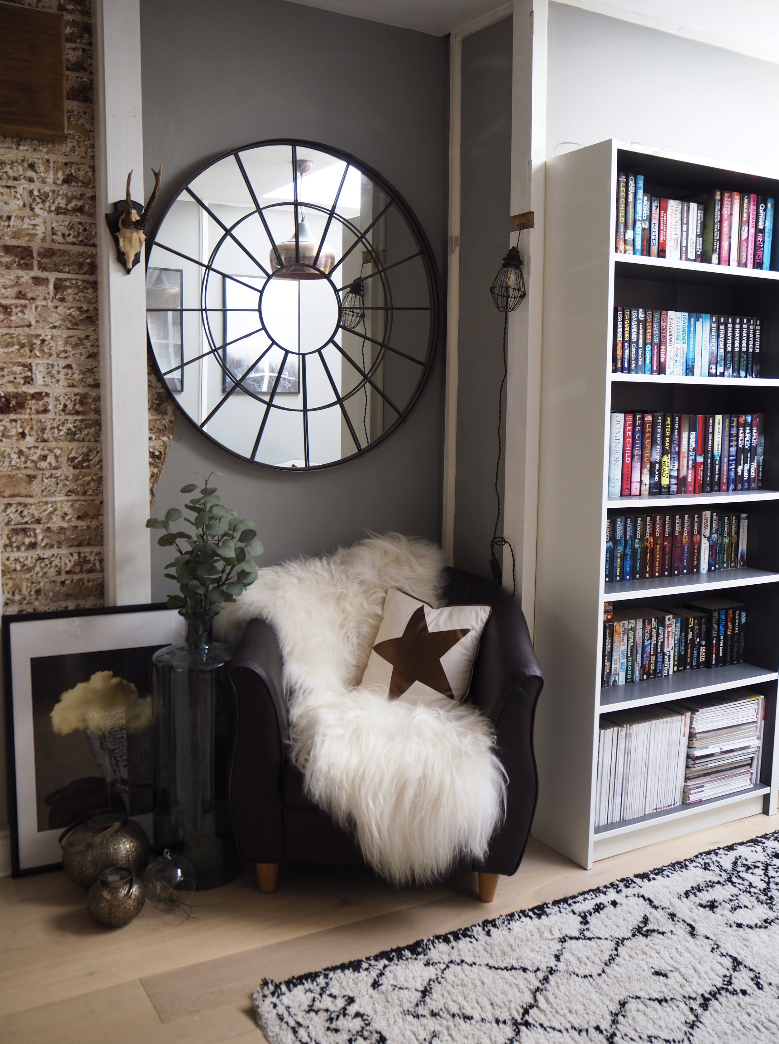 Reading corner -Bookshelves Ikea.......Sheepskin Cowboykate.....Rug La Redoute.....large g;ass jar @tigerstolilies......wall light Rockett St George
