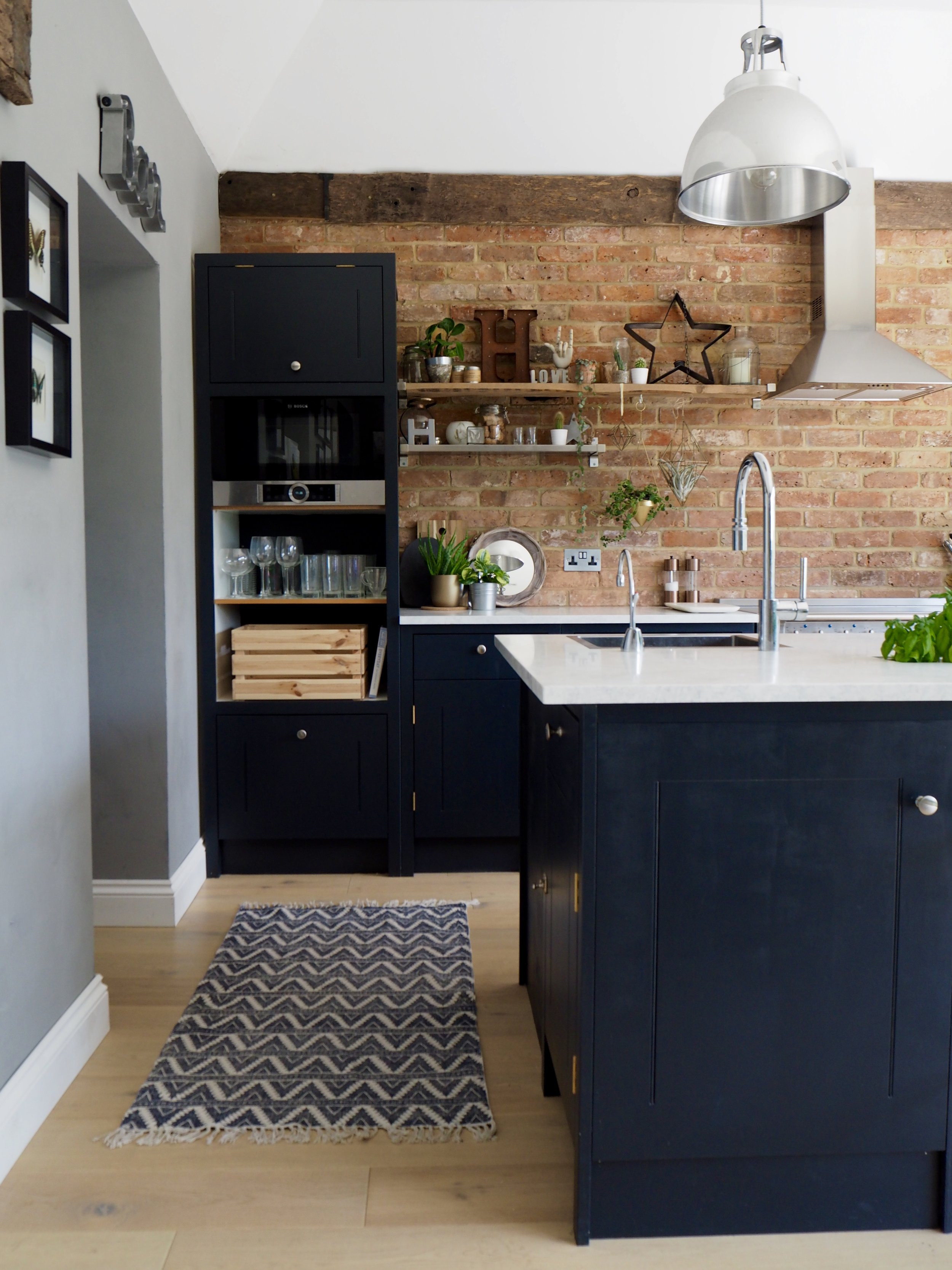 Kitchen  - Units from British Standard Cupboards….. hand painted by me in Farrow & Ball 'Railings' …...Bar stools from Rockett St George ….. Pendant lights above Island from Original BTC….. Kitchen table from La Redoute