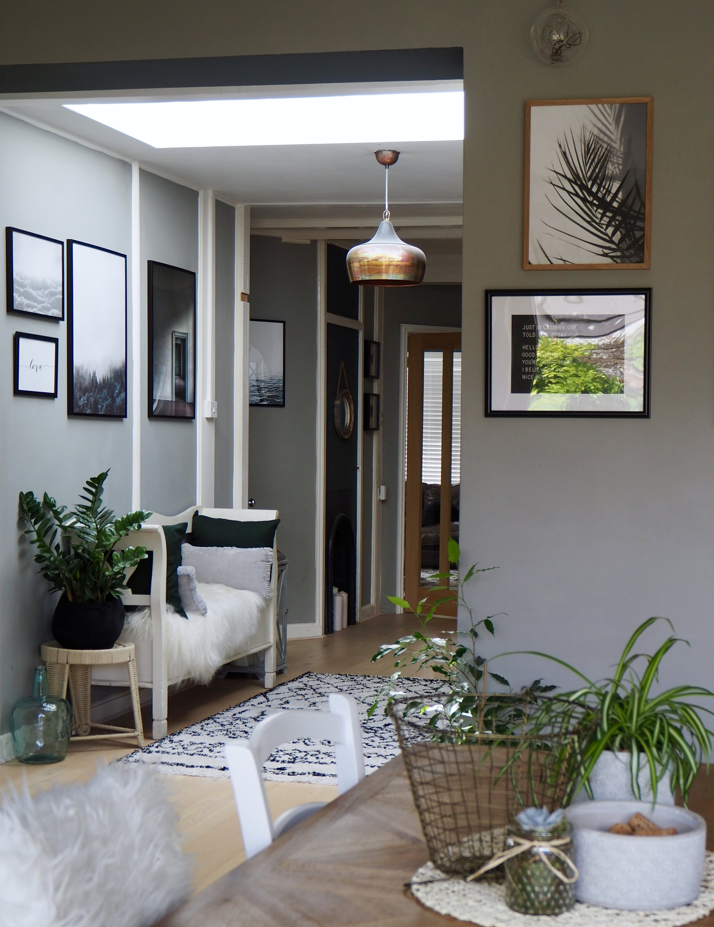 Kitchen table into open plan area -  Walls F&B 'Manor House Gray' ….. brushed copper Pendant Light 'Atkin and Thyme' …… Prints Desenio …… stool Violet and Thistle