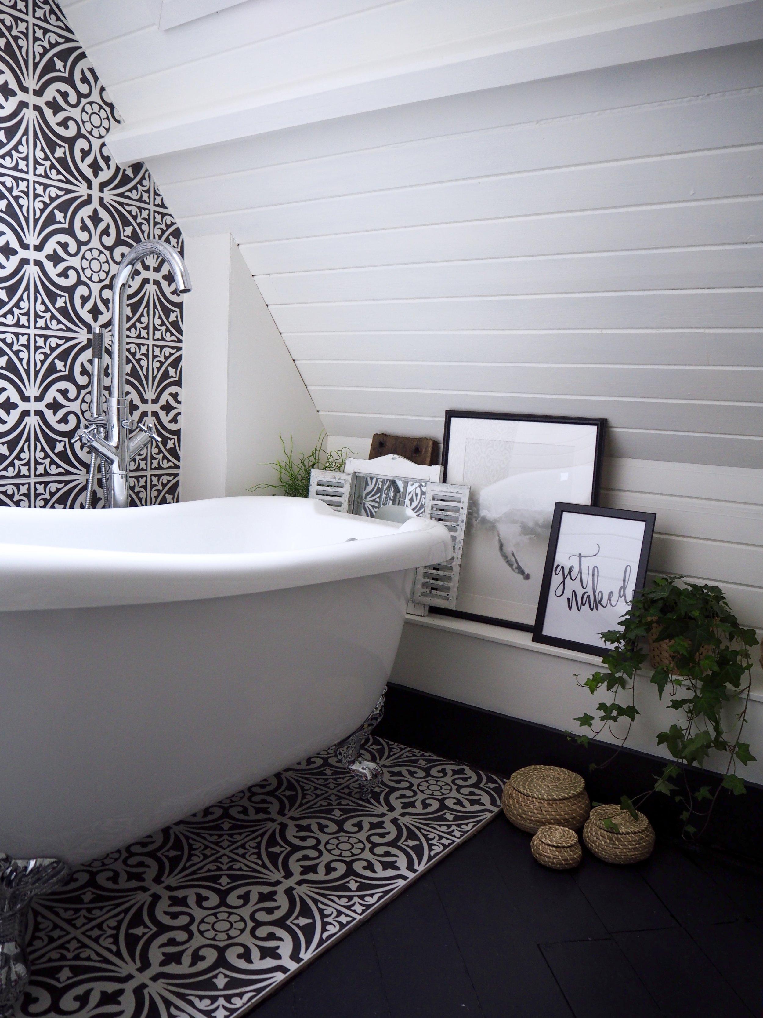 Bathroom  - Walls F&B 'Wimborne White'..... Floor boards F&B 'Off Black' ….. Tiles 'Devonstone' …… Baskets Ikea ….. 'Get naked' Print @slaymyprint ….. 'sky diving' print Nickiekelly.com
