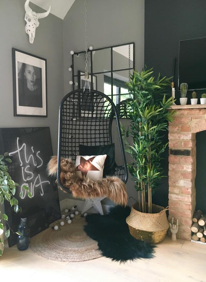 Kitchen corner  - Swing chair- Rockett St George ….. Sheepskin Cowboy kate ….. White skull NickieKelly.com…..blue basket Hilary & flo ….. Walls Farrow & Ball ' Manor House Gray' …..lights festive lights ltd