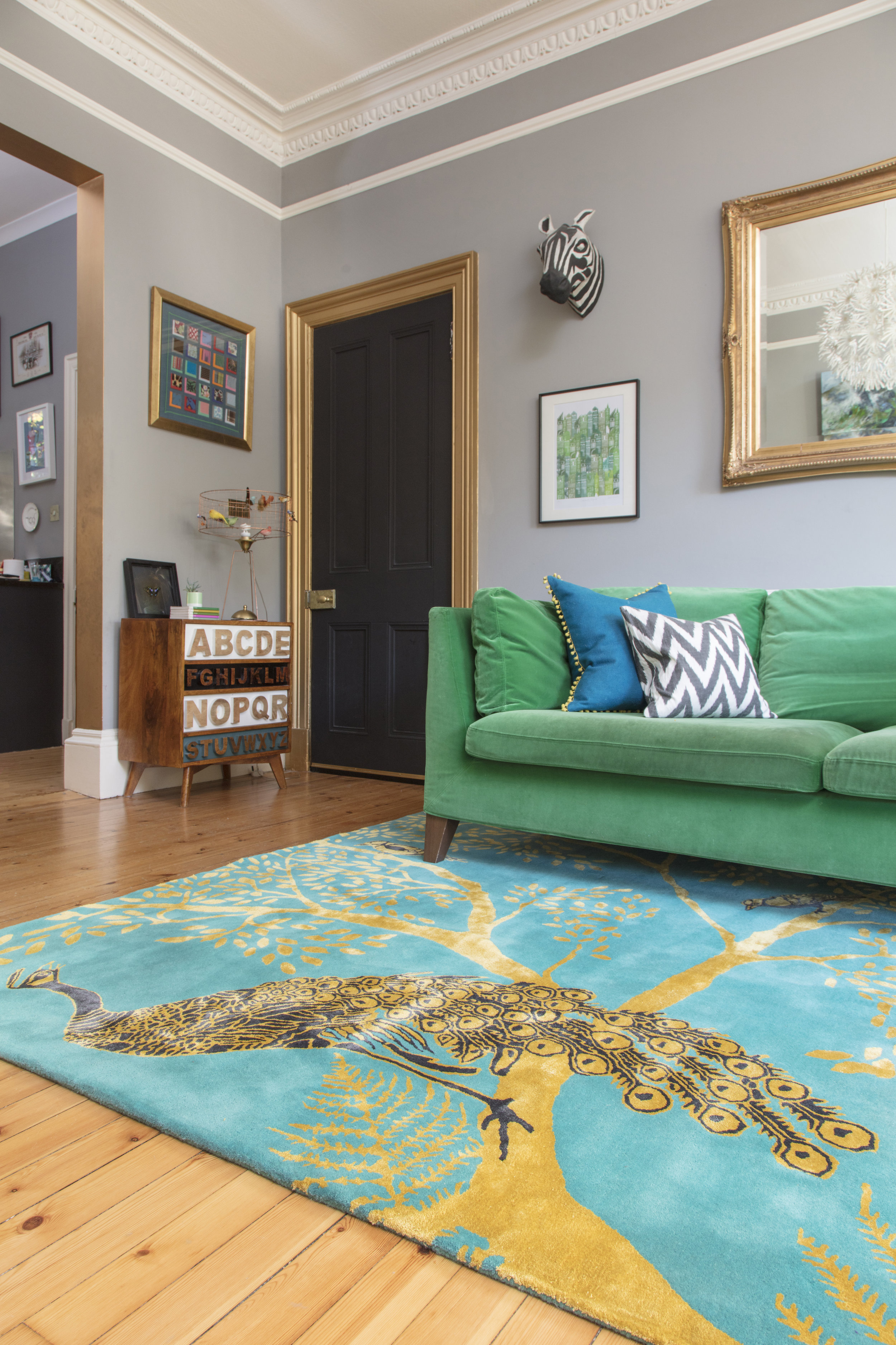 Wendy's Enchanted Wood rug in Emily Murray's home @pinkhouseliving