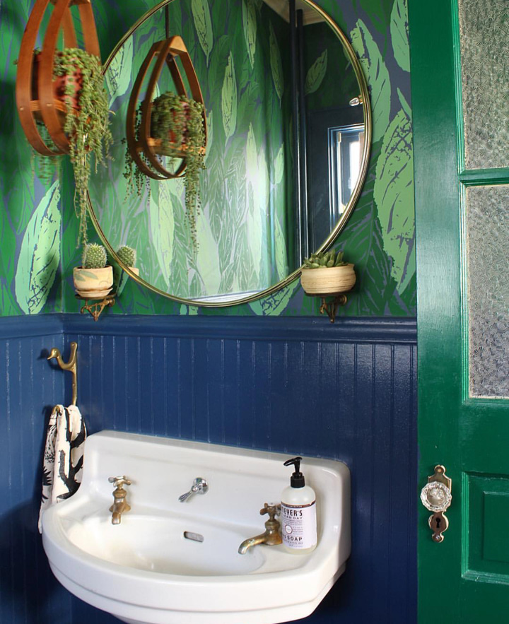 Whoever said blue and green should not be seen? the downstairs bathroom with wallpaper from  the Jungalow