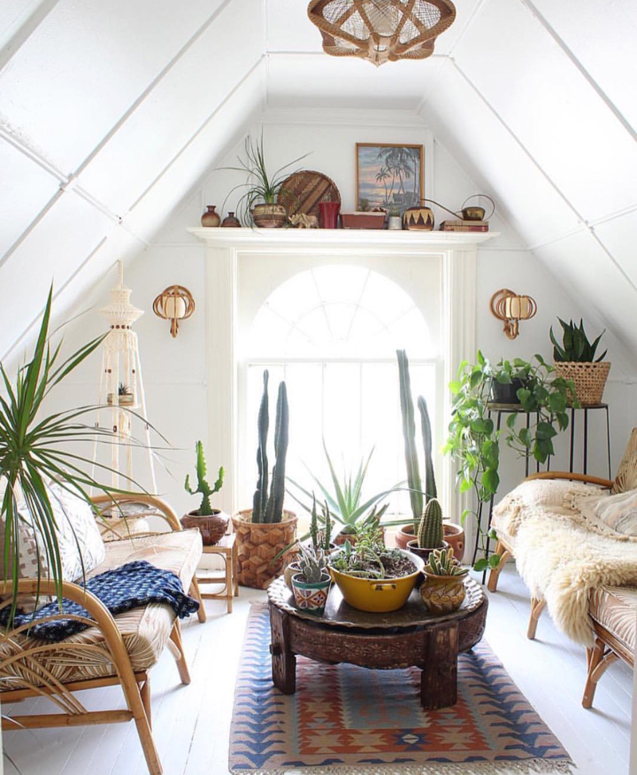 The upstairs seating area, houses many plants during the winter months, once again filled with vintage treasures