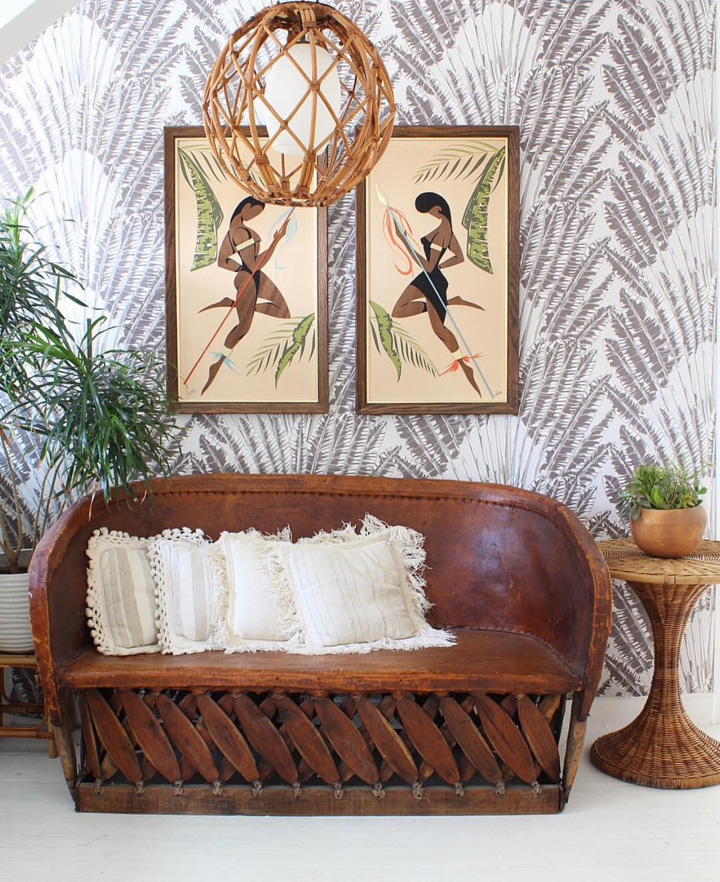 Statement wallpaper and a vintage bench, styled to perfection