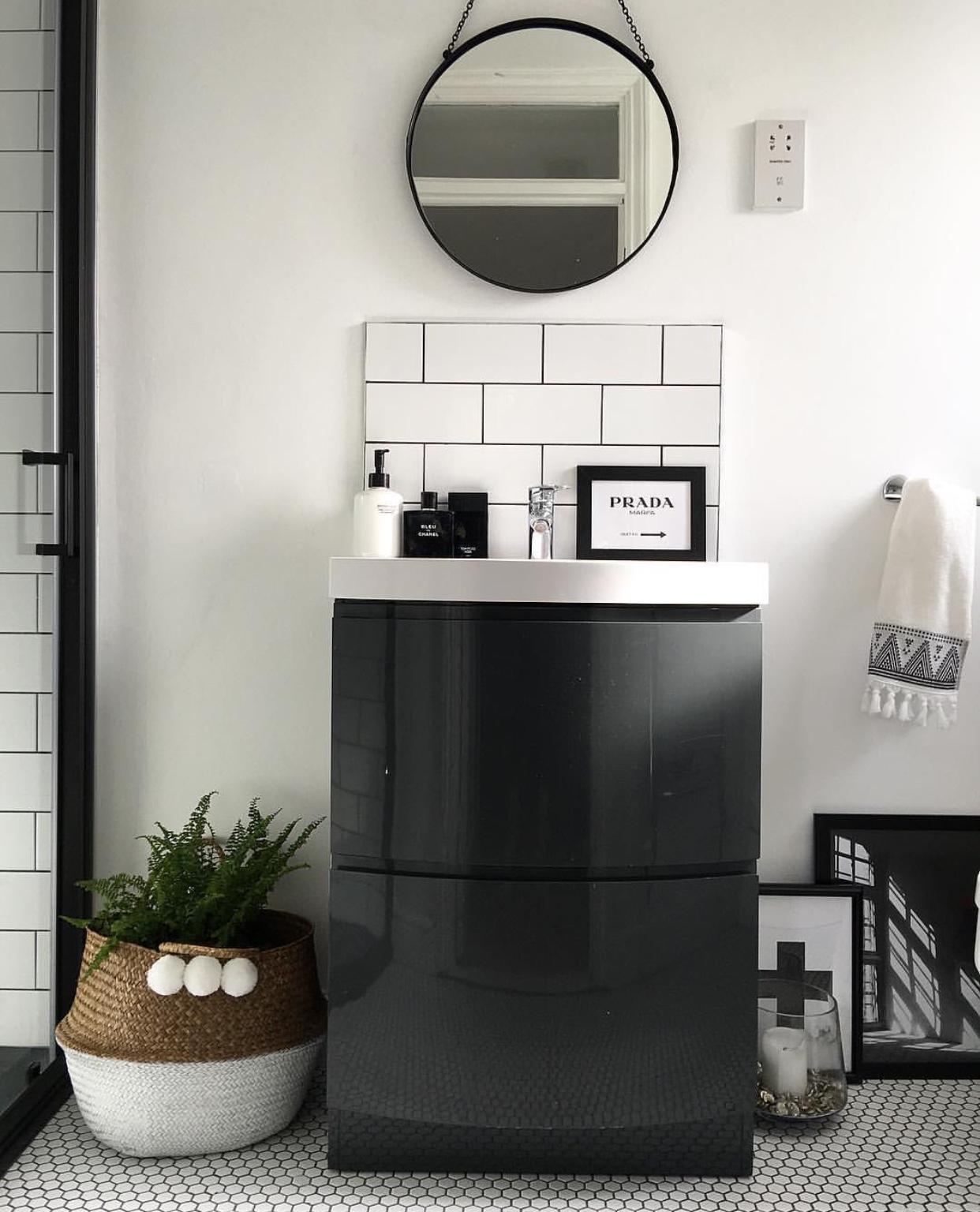 En suite:Floor tiles: Topps Tiles, Wall tiles: Tons of Tiles, Sink unit and shower door: Victoria Plum, Shower tray:  soak.com , Belly Basket: Sunshine and Shade