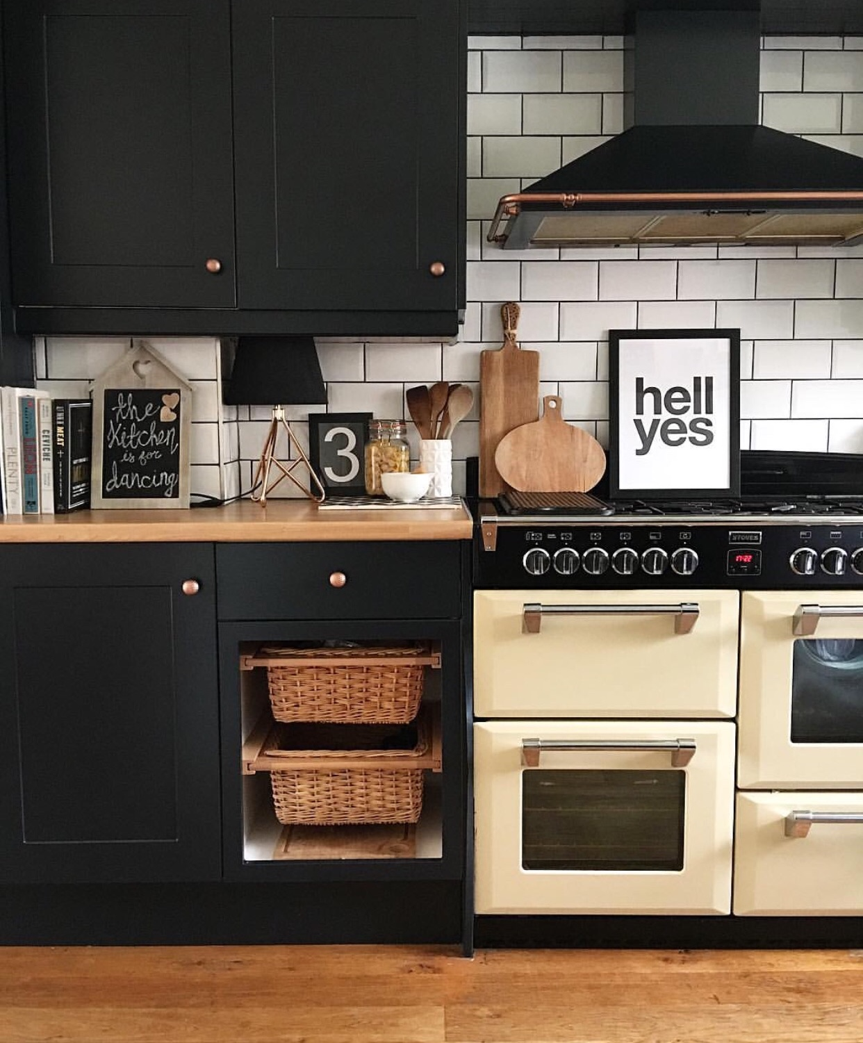 Kitchen:'hell yes print' - Gayle Mansfield Designs, Units painted in Farrow and Ball's Railings
