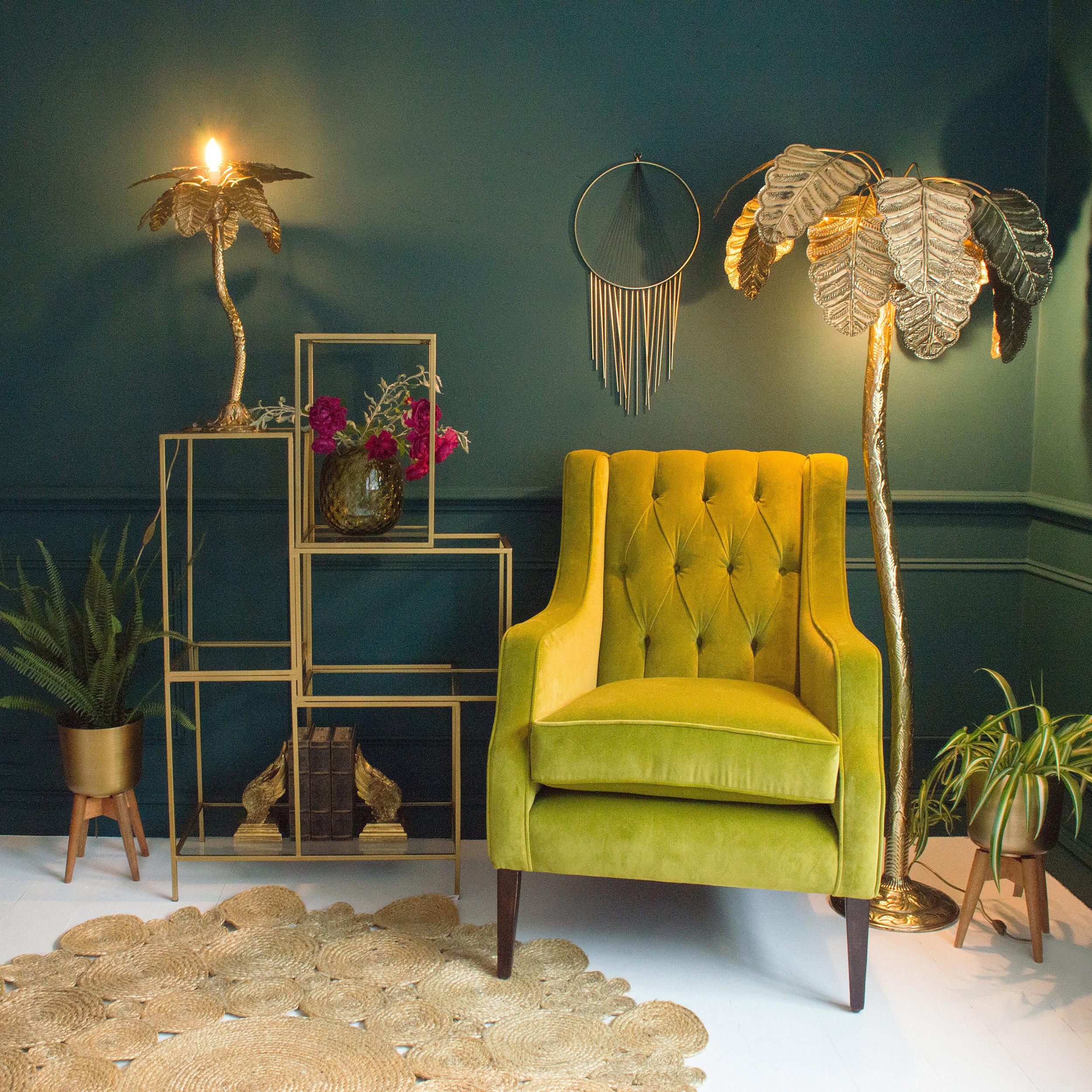Audenza- Palm Tree Floor Lamp £995. Sumptuous Winged Back Velvet Armchair £1,495.  Palm Tree Table Lamp £305 (3).jpg