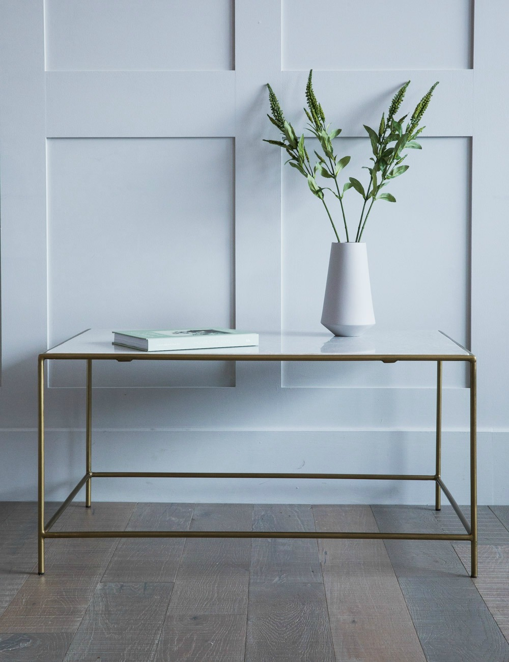 Bea Rectangle Marble and Brass Coffee Table