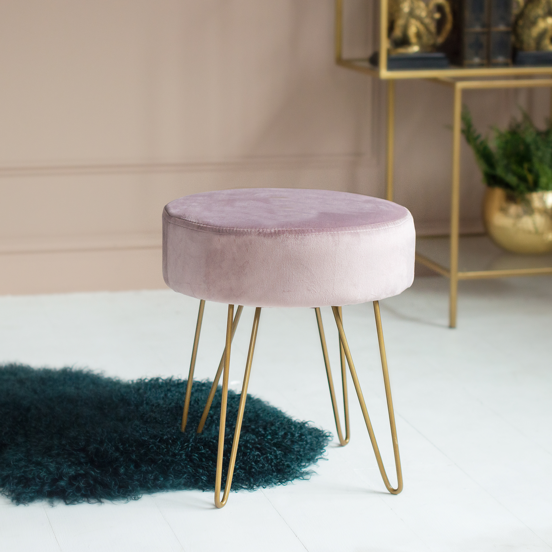 Lilac Velvet Footstool - AUDENZA