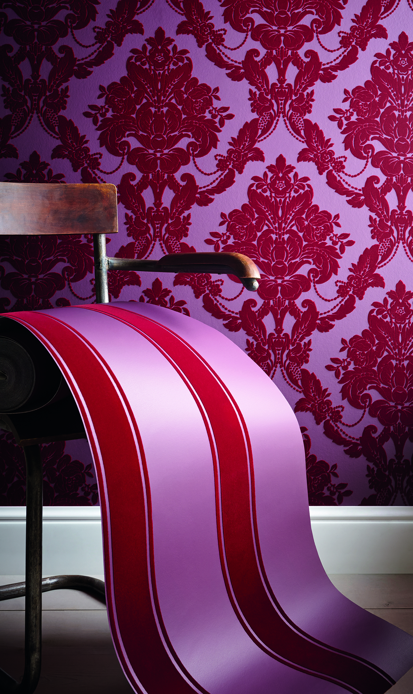 Sophie Conran for Arthouse Palais Stripe Scarlet Wallcovering - ARTHOUSE
