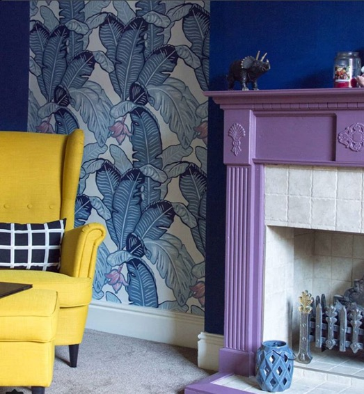 Beautiful wallpaper from    The Loft and Us    as featured in Karen Clough's (   @karenanita   ) colourful home