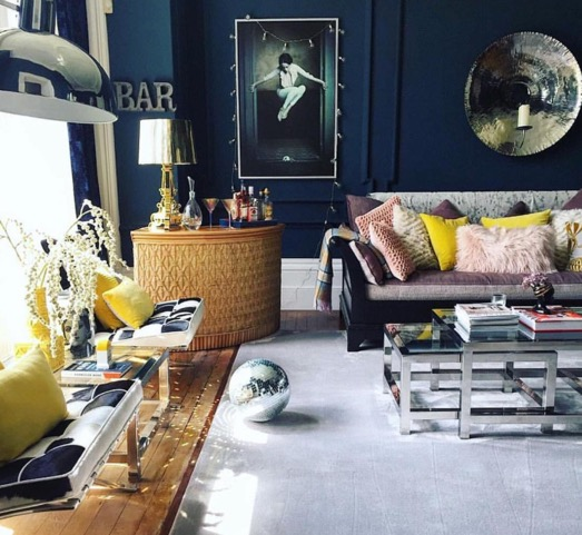 """The   Coach House   """"Afraid of the Mouse"""" print sits pretty behind Amy Wilson (  @thisstyle_rocks  ) home bar. You can tour Amy's home    here"""