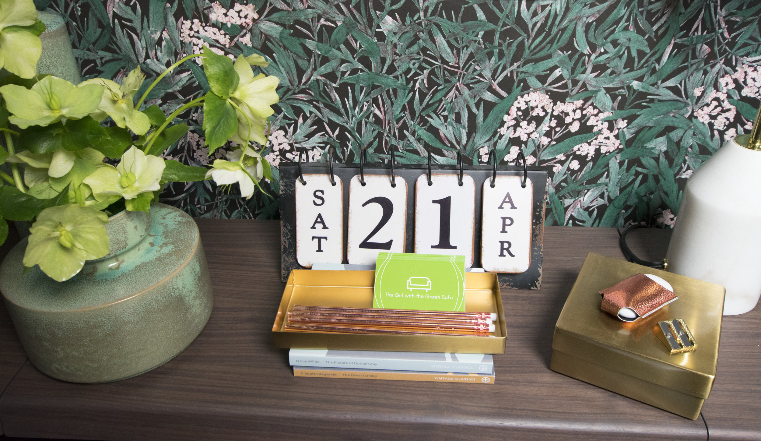 Normos Desk Set in Gold, Magni Small Vase, MADE. Stationary from Paperchase. Desk Calendar my own.