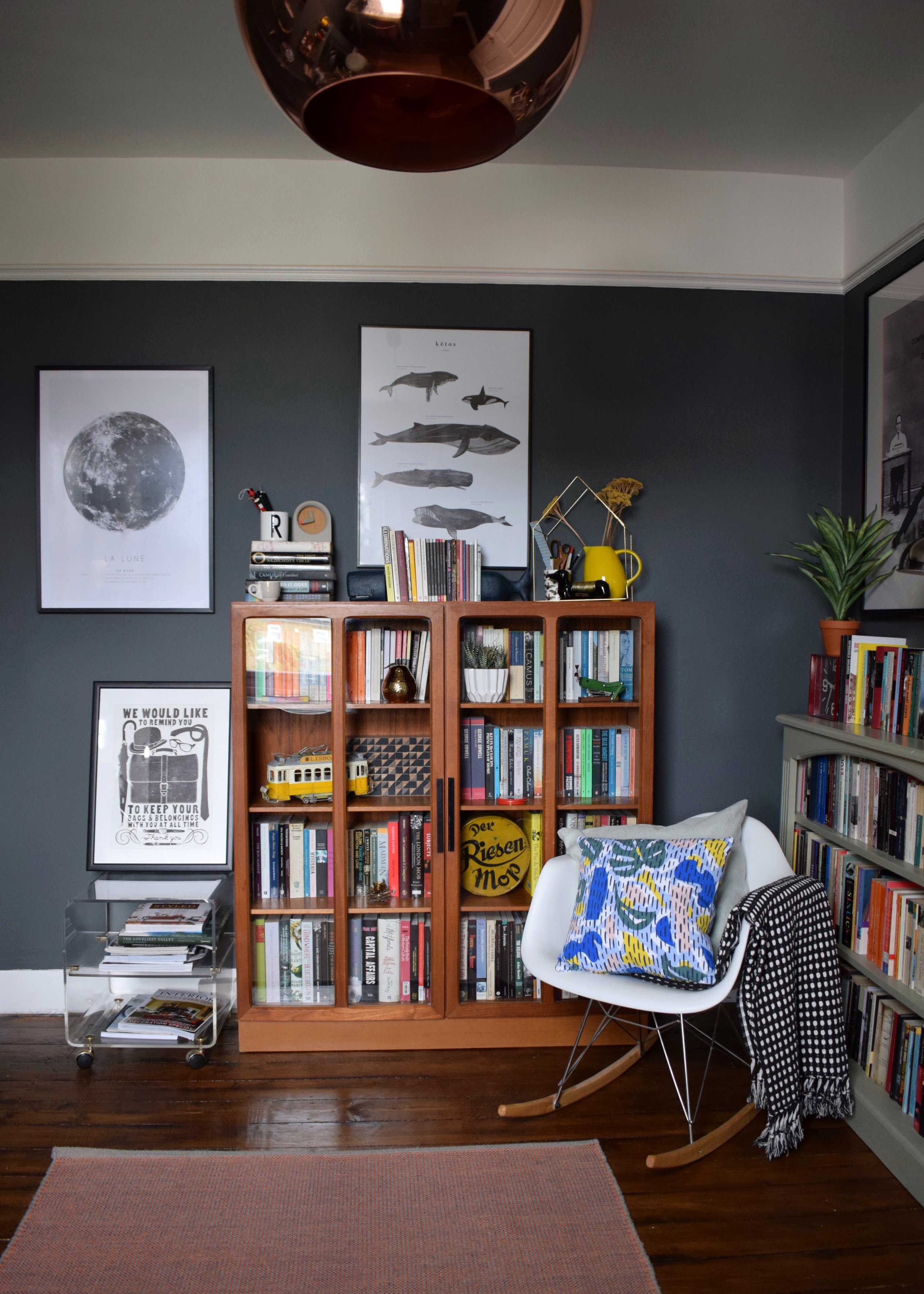 bohemian modern mid century vintage farrow downpipe modernist study home office styling ideas and inspiration eames rocker, teak cabinet, tom dixon copper light copy.jpg