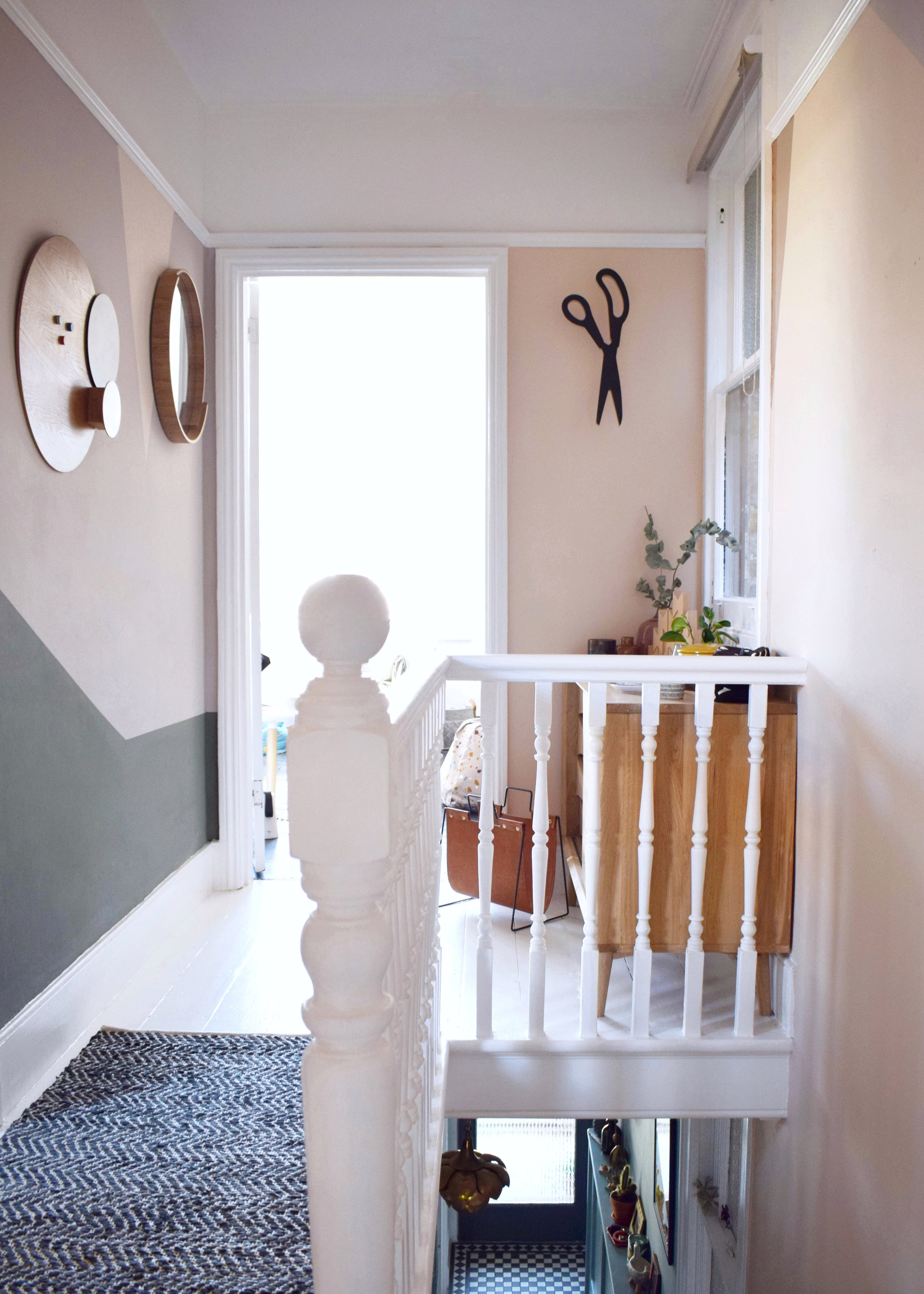 Revamp Restyle reveal hallway makeover, peach geometric colour wall, white painted floors, natural warm neurtral tones interior design (4) copy.jpg