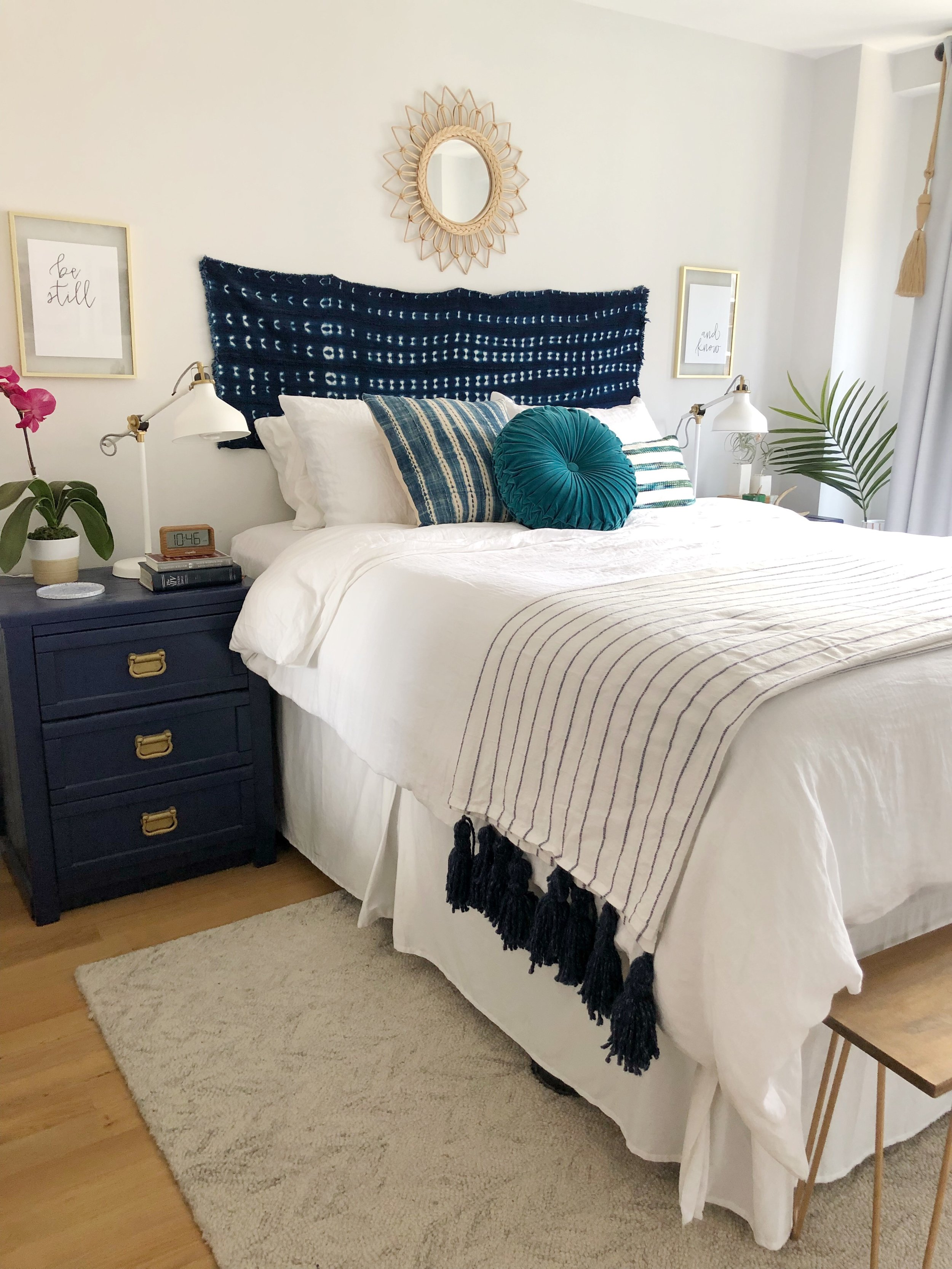 Our bedroom is just big enough for our bed and nightstands but as with all of the rooms in our home, there are the touches of blue!