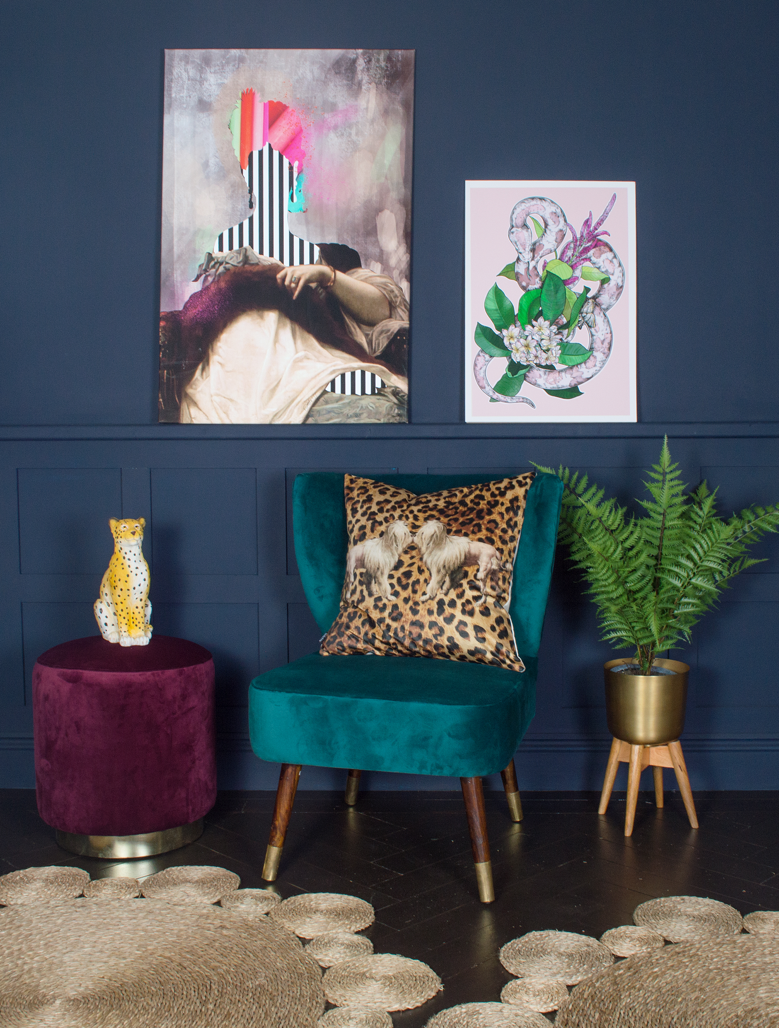 Audenza- Emilia Velvet Stool £129.95. Harrington Teal Velvet Chair £368. Princess Leopold Canvas Print £195. Snakes of Creation Print £35..jpg