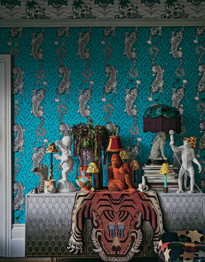 Flamboyant Maximalism; pattern on the ceiling and the walls, flamboyant accessories. Source. Living etc.