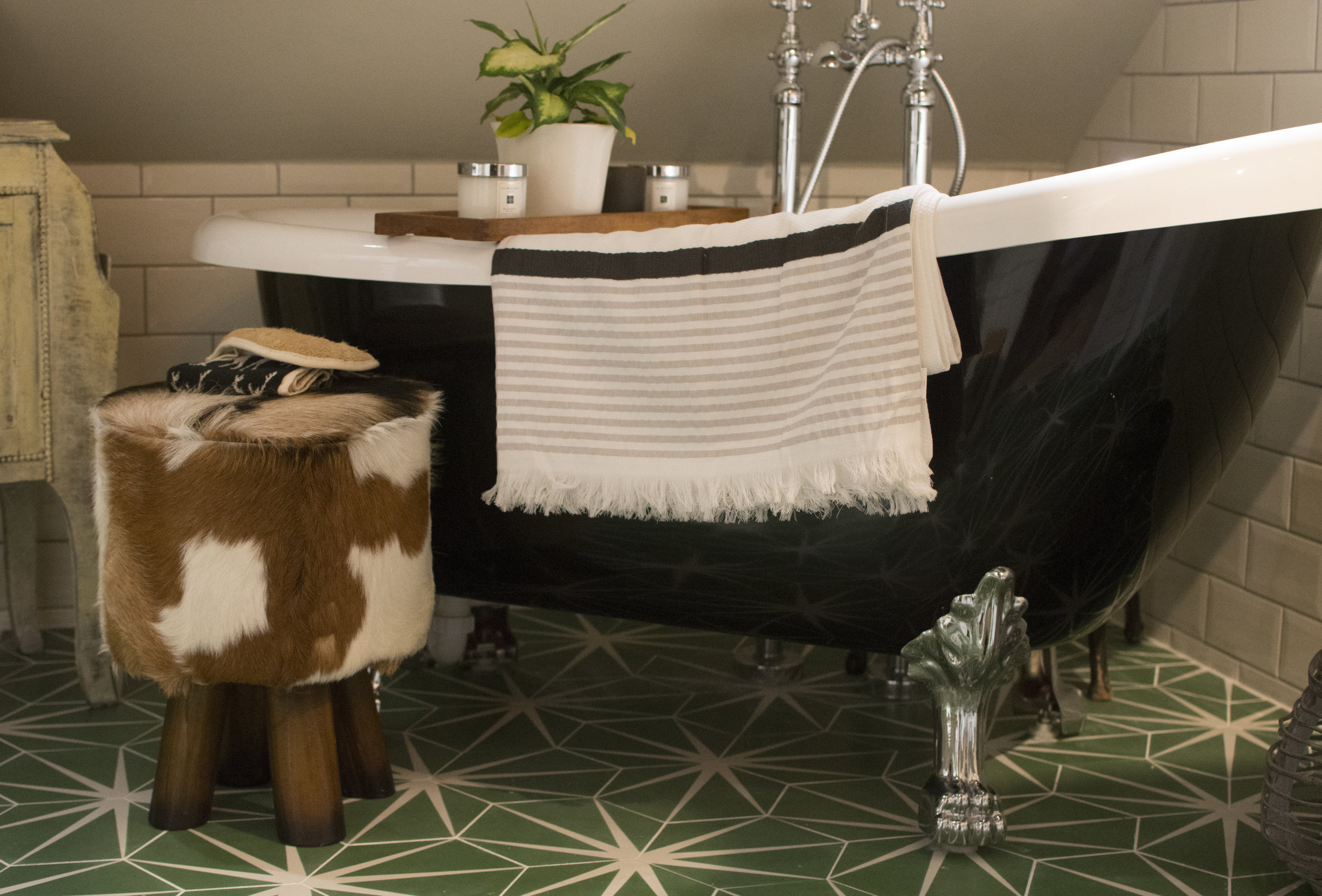 Maroc Towel Hanging over my bath tub.