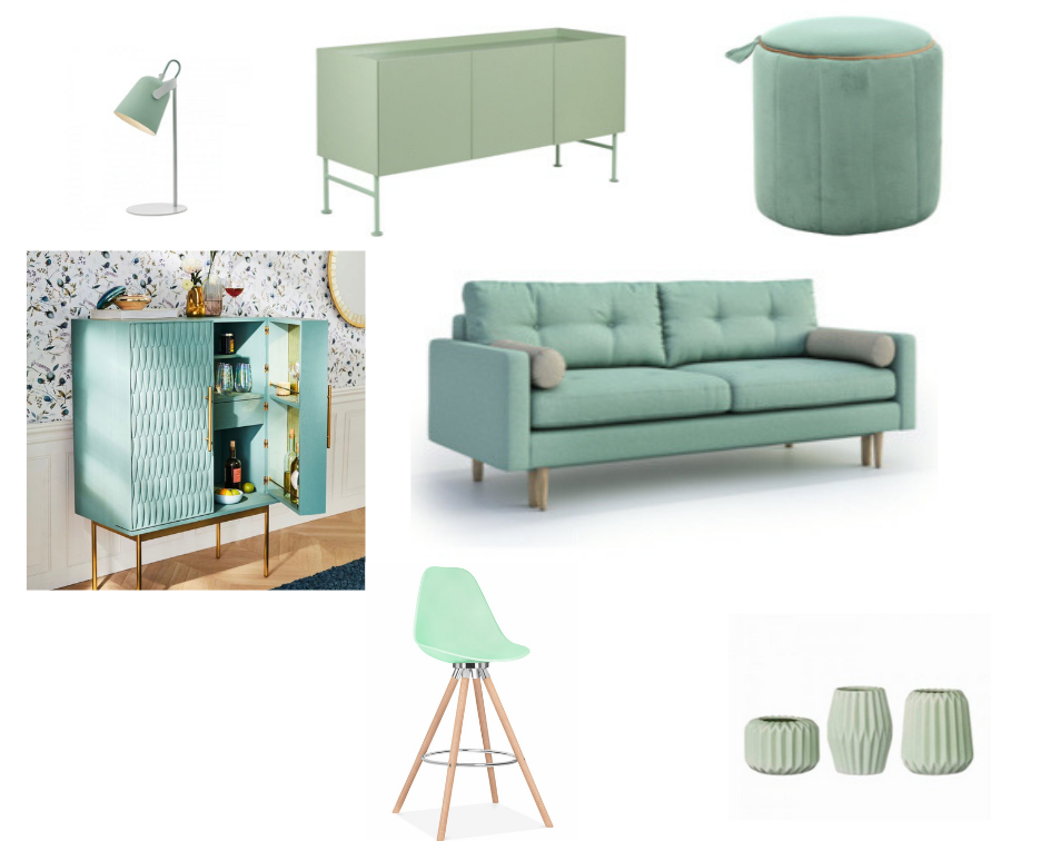 LHS to RHS Top Row.  Light  from Lights to Go. NIKKA sideboard from  SKLUM.   One Couture Mint Green Ottoman   Middle Row.  Bethan Drinks Cabinet  from Anthropologie,  Amalgre Sofa  from Wayfair  Bottom Row. Moda Stool from  Cult Furniture .  Vases  from Bloomingville