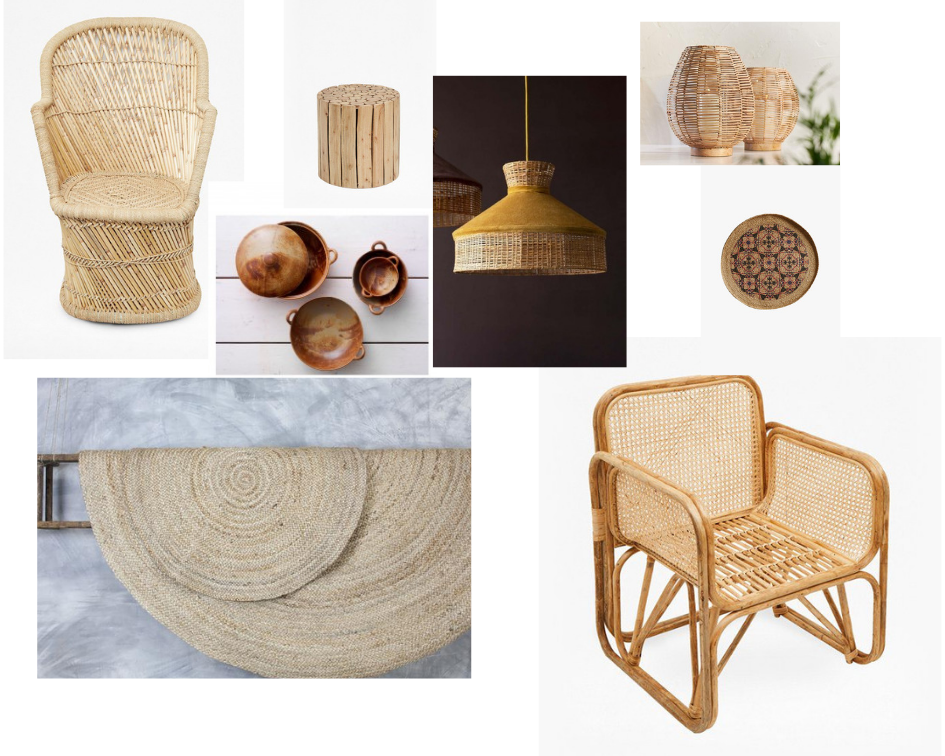 Images LHS to RHS.  Fan Pampas Chair , French Connection,  Eucalyptus Wood Table , French Connection, Rattan and Velvet Lampshade , RockettStGeorge,  Noko Wicker Lantern ,  Andalucia Bowls,  Habitat, Nkuku,  Mandala Large Wall Basket ,French Connection,  Braided Hemp Rug , Nkuku,  French Cane Chair , French Connection