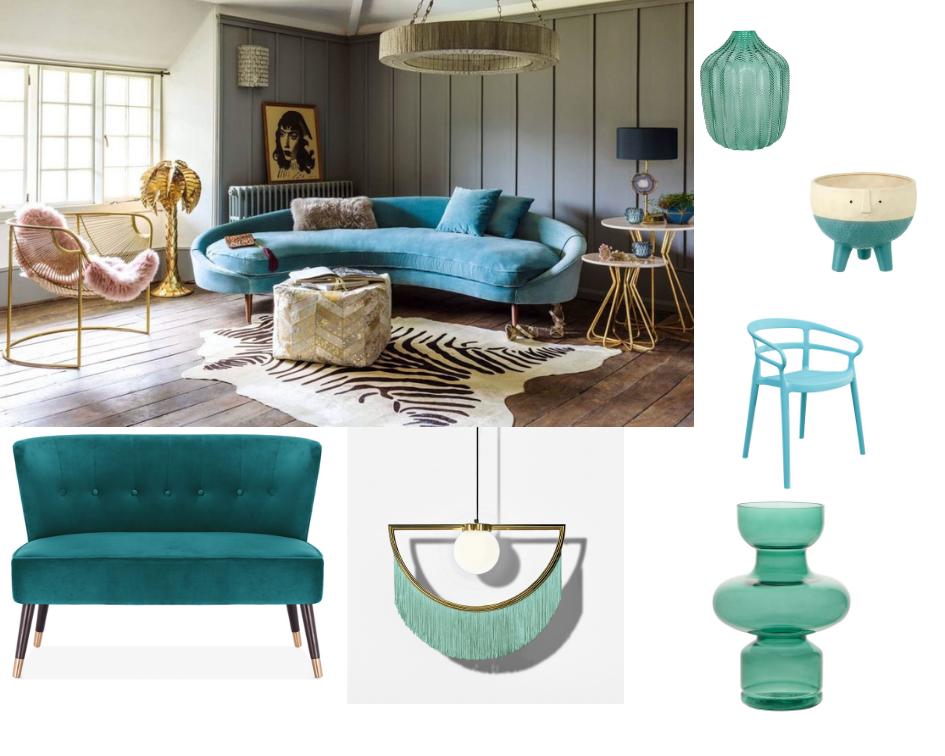 Gisela Graham Chevron Vase.  Hurn & Hurn . Alma Garden Dining Chair.  Danetti . Blue Sofa:  Cult Living . Wink Fringed Pendant Lamp.  Audenza.  Gerald Planter.  Trouva.  Voluptuous Glass Vase.  Audenza.
