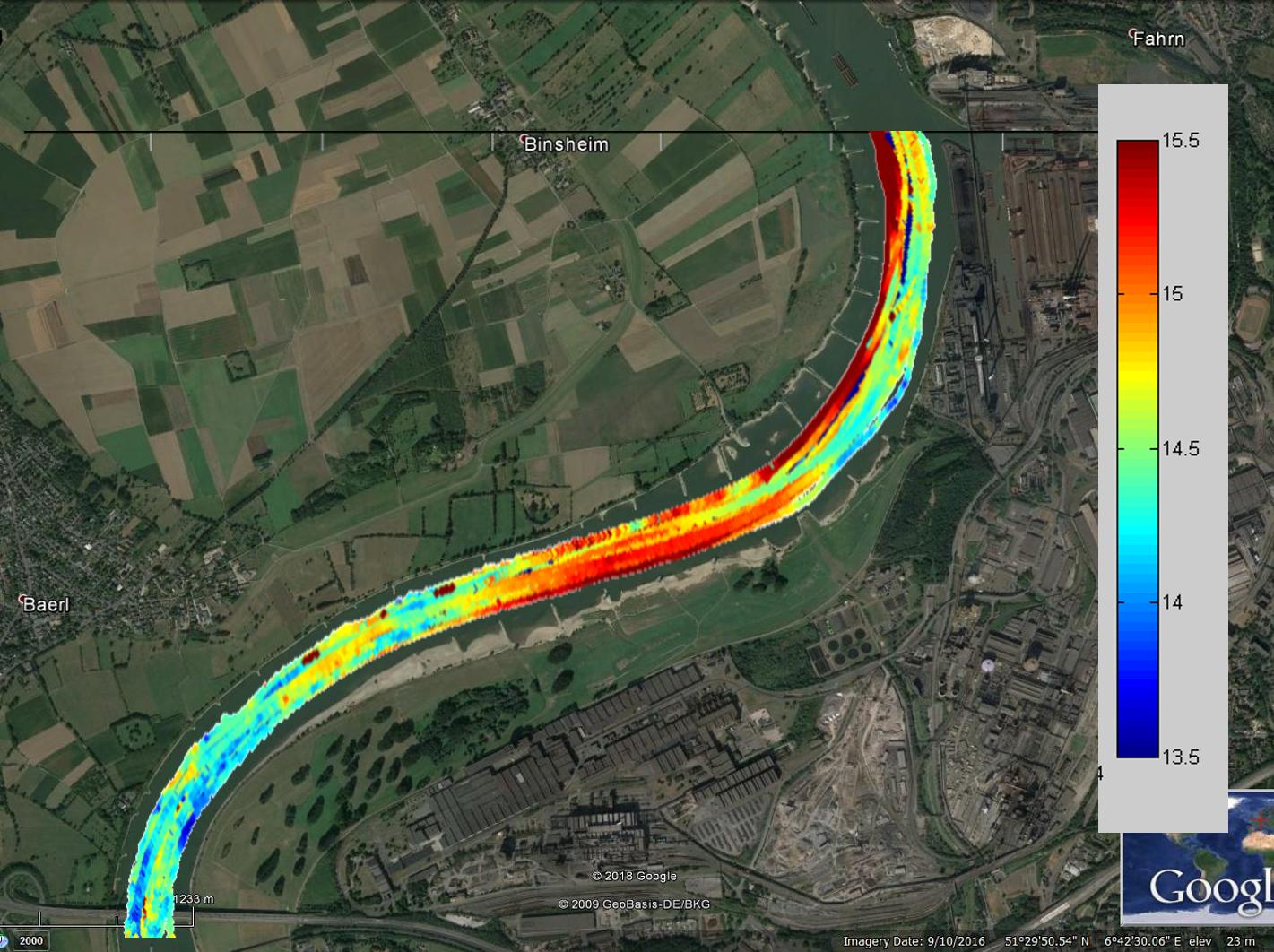 Bovenstaand plaatje geeft de bodemligging weer. Hoe hoger de waarde, hoe ondieper de rivier. (rood is ondiep, donderblauw is diep)