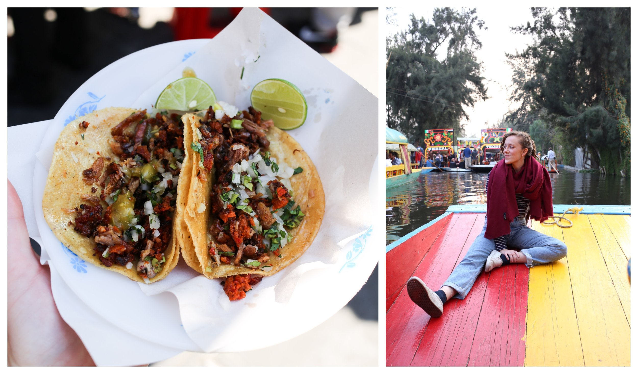 Tacos el pastor in Mexico City (left) Xochimilco boat cruise (right)
