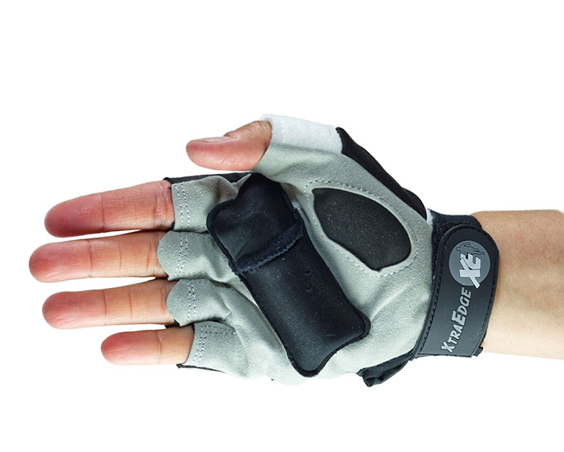 The permanent weight in the top of the glove is a weighted sand so it conforms to your hand. The steel-coated palm weight is removable and designed to fit perfectly in your hand. XtraEdge gloves come in unisex sizes of small, medium and large..