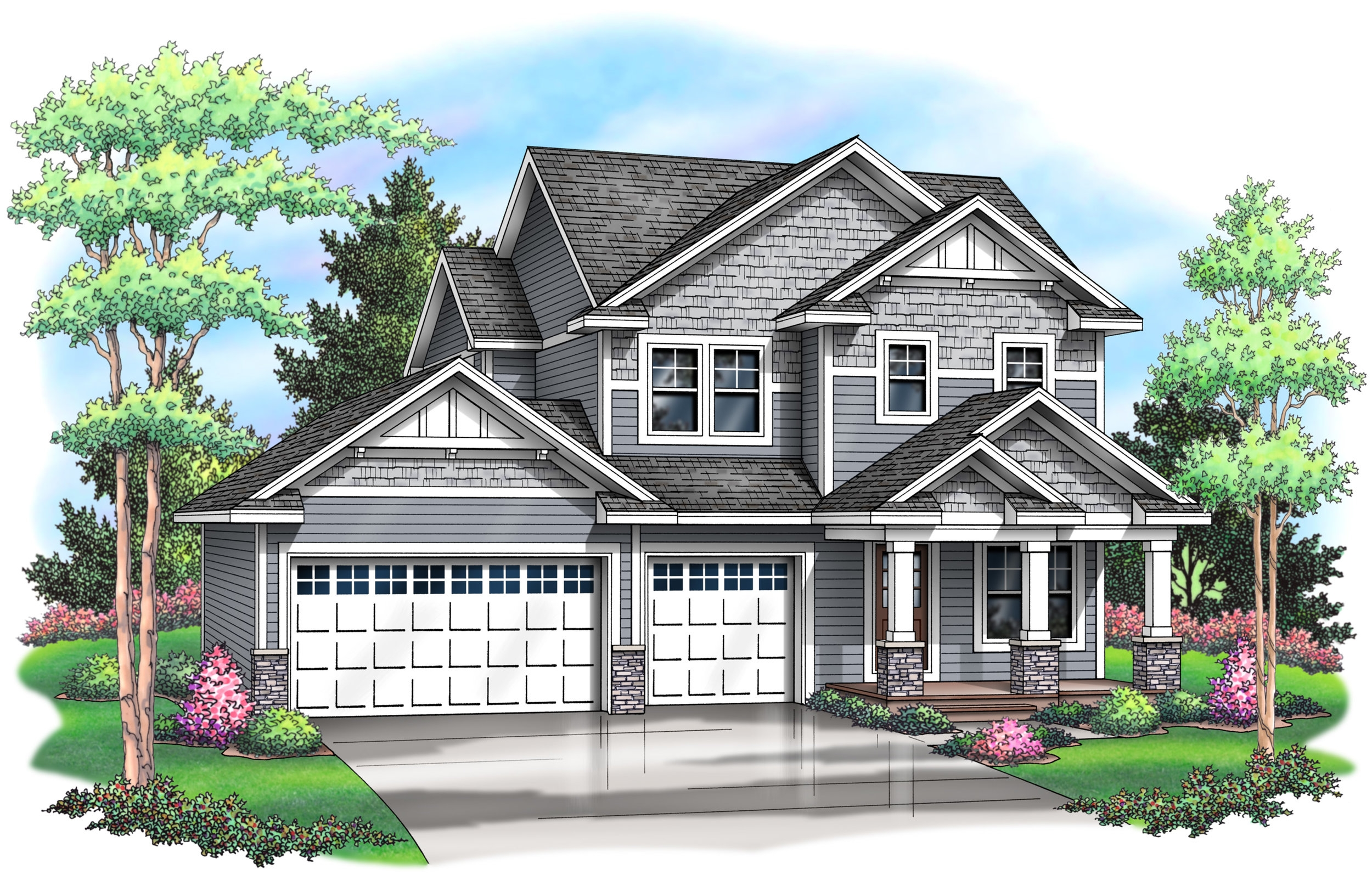 The Quinn Two Story Plan - This two story plan features 4 bedrooms and laundry on the upper level! Open floor plan on the main level features a spacious great room. Enjoy the pocket office and a mudroom off the 3 car garage.Price Range: 454,900Square Footage: 2,318Bedrooms: 4Bathrooms: 3.5