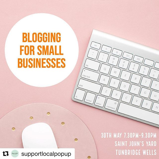 Link in bio to book! . . Repost @supportlocalpopup with @get_repost ・・・ Do you blog? When ever I speak to businesses about blogging I see their eyes fill with dread. Remember blogs don't have to be essays, keep them short, informative, to the point and it's much easier to blog more frequently. Blogging has s huge impact on your SEO and is a great way to give your followers more of an insight into your brand. If you fancy joining myself and @socialtn9 we'll be hosting a workshop all about blogging next month. The ticket link is in my bio now . . . . #blogging #seo #smallbusiness #marketingplan  #kentlifemag  #momstrong  #momsofinstagram  #tonbridgekent  #tunbridgewellsmums  #mumma  #socialmediatools  #tonbridgepark  #socialmediamom  #momstyle  #socialmediabusiness  #marketinglife  #socialmedia101  #mommylife  #socialmediamarketingtips  #mumblogger  #tonbridgewells  #socialmediatips  #Sevenoaks  #tunbridgewellslife  #socialmediaexpert  #kentlifestyle  #moms  #smallbusinesssupport