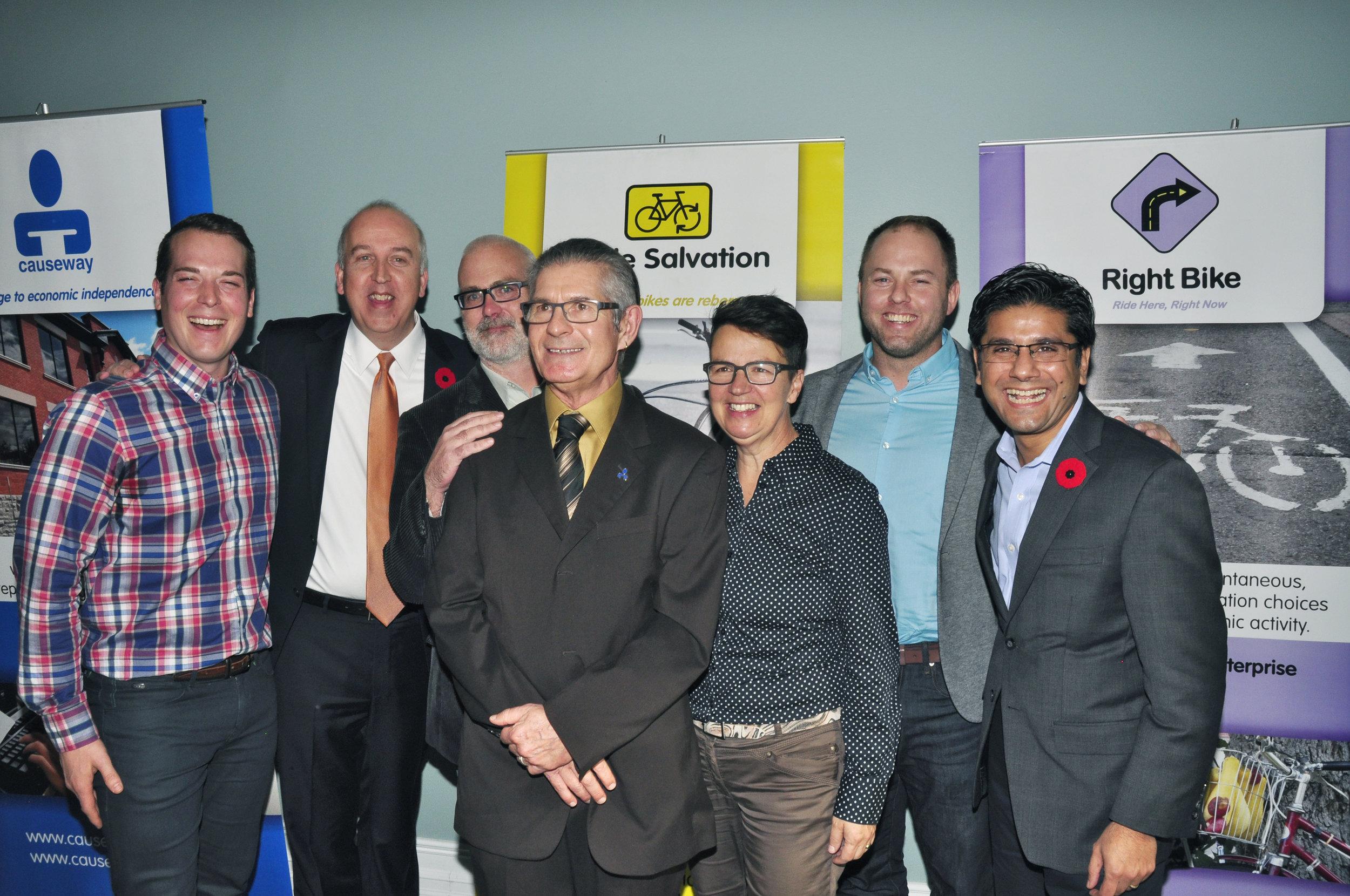 (Left to Right) Mathieu Fleury, Rob Paterson, Jeff Leiper, Don Palmer, Catherine McKenney, Doug Pawson, Yasir Naqvi - November 2016