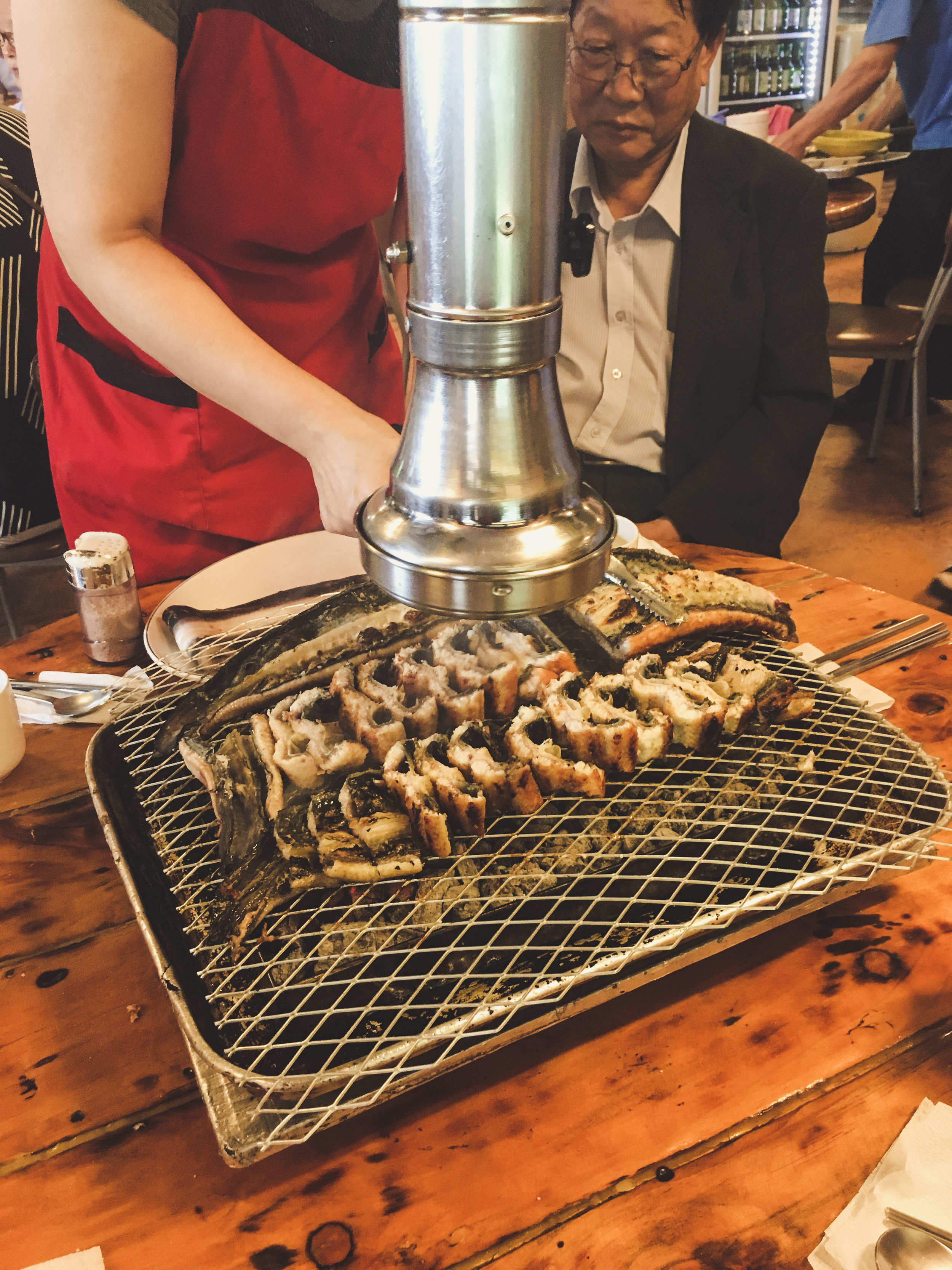Freshwater Eel grilled in the middle of the table. Incredibly fresh, and oh so delicious.