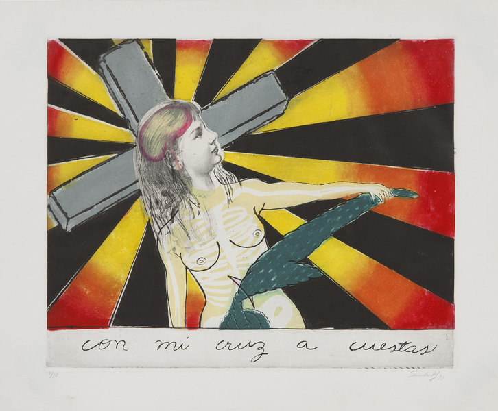 Sandra Ramos, Con mi cruz a cuestas (Carrying My Cross Around), 1993.