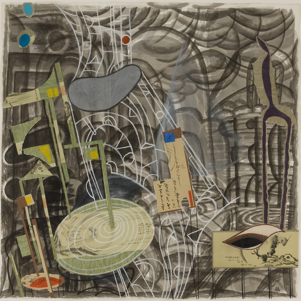 Travelandscape, 2004. Collage, ink and crayon on paper. 44 1/2 x 44 1/2 in.