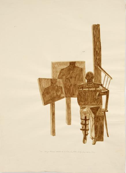 En Cayo Hueso, Estado de la Florida, 1894 (In Key West, Florida State, 1894), 1991. Cow blood and pencil on paper. 27 1/2 x 19 1/2 in.