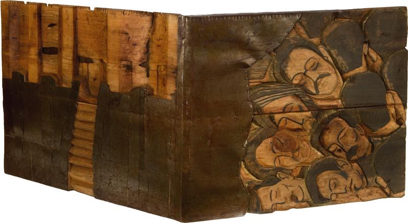 La fortaleza maldita (The Cursed Fortress), 1992. Polychrome wood, graphite and metal. 36 x 74 1/2 x 14 in.