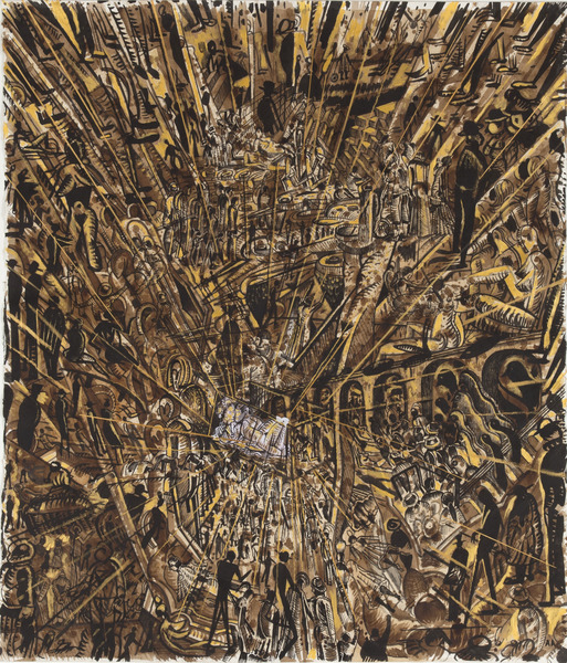 Black Drawings Series (Black and Gold Gallery Walk), 2013. Coffee, ink and acrylic on paper. 59 1/4 x 51 1/2 in.
