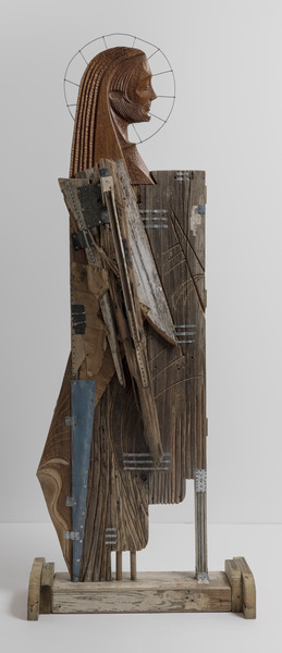 The Walker and His Shadow, 2006. Wood, metal, roof tiles, cardboard, nails and wire. 81 1/4 x 30 13/16 x 12 in.