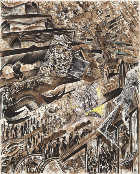 Black Drawing Series (Diego and Frida Unemployment Dance), 2013. Coffee, ink and collage on paper. 39 3/4 x 32 1/4 in.