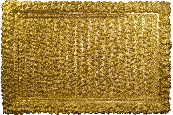 Laureado, 2014. Fiber glass and gold paint, 35 x 51 in.